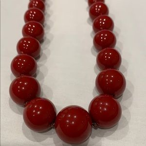 Talbots long red graduated bead necklace